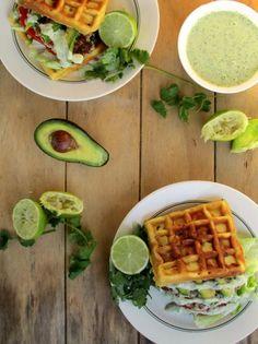 Lime Chicken Burgers on Cheesy Jalapeño Corn Waffle with Cilantro Yogurt Sauce