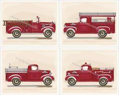 Fire Trucks Firetruck Engines Vintage Retro Art Prints for Boys Kids Bedding Decor