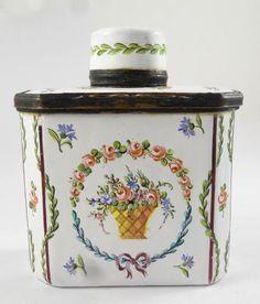 Antique 19c RARE English Battersea Enamel Tea Caddy Form Floral Motif Snuff Box | eBay