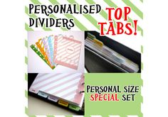 SIZE PERSONAL special set 5 Personalised by CuteOrganizing on Etsy, £9.48 - Top tabs for the filofax. Awesome!