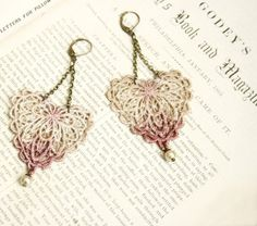 lace earrings VALENCIA ombre ecru mauve ....tinaevarenee on Etsy