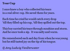The Poem Farm: Tear Cup - Surprise Object Poems | growing poetry and lessons for all ages... - This poem and lesson can help you teach your students about writing from objects, writing for surprise, or rhyming couplets!  Hundreds more free, ad-free, and searchable poems and mini lessons and ideas at www.poemfarm.amylv.com