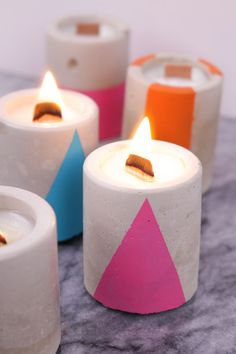 DIY Concrete Candles
