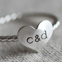 Sterling Silver ring with initials. LOVE THIS!
