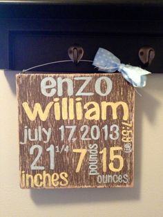 New Baby Stats Sign