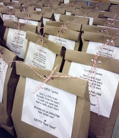 Teacher first day survival treat bags from PTO filled with cookies, trail mix and chocolates.