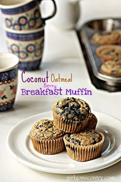 Coconut Oatmeal Berry Breakfast Muffin. These make a delicious snack or quick breakfast on the go. Gluten and Dairy Free.