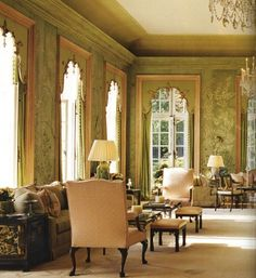 Sitting room in the American Embassy in London. The hand-painted wall covering is over 100 years old.