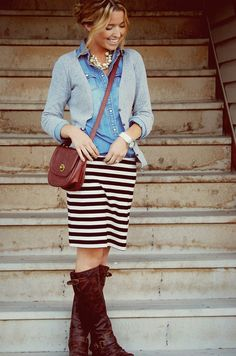 Love recreating my style! fashion, style, outfit, denim shirts, closet, brown boots, stripes, chambray, denim skirts