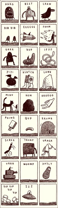 Alphabet d'onomatopées.  / Noisy Alphabet / By Tom Gauld