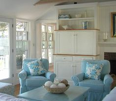 coastal homes, living rooms, beach cottages, color, beach houses, robin egg blue, club chairs, coastal living, cottage style