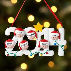 2014 Family Holiday Ornament | Personal Creations - The whole family gets a shout-out with this fun Christmas ornament. A lasting gift for your family, neighbors and special friends. Choose from 1-10 family members with any name, up to 10 characters each.
