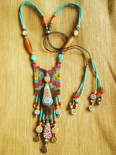 Aow Dusdee: Boho necklace with great colors. #fashion #jewelry #bohemian #necklace #boho