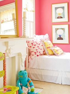 Ageless Pink - Color creates personality in a room and this charming bedroom comes across as cheery with deep blush pink walls and crisp white woodwork and trim. The pink is perfect for a young girl's room but has a sophisticated depth that makes it a charming color for any age.