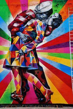 Beijo colorido por Eduardo Kobra #street #graffiti #colorido #beijo #arte #parede