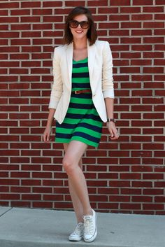 laid back style, blazer, mini dresses, green, outfit, blog fashion, belt, stripe dress, fashion inspir