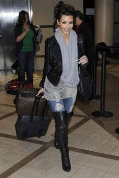 jean, outfits, fashion, kim kardashian, knee high boots, thigh highs, fall outfit, leather jackets, airport style