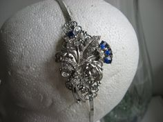 cobalt blue and filigree art deco headband