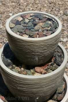 Craft a super simple fountain from resin pots, pebbles & a hose.
