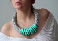 Mint green jewelry statement necklace fashion jewelry by byNao, €35.00