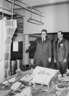 President Bassin and Dr. George Martin Halpern view the demolition work at 250 livington Street, future temporary home of the Graphic Arts Department.
