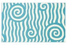 Baden Outdoor Rug, Blue/White on OneKingsLane.com outdoor rugs, roll wave