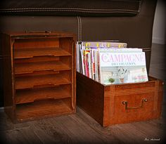 Old oak desk drawers used for magazine holders.  Could put on casters for easy pull out from under a piece of furniture.