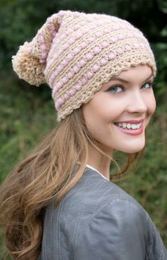 Puff Stitch Hat Free Crochet Pattern from Red Heart Yarns