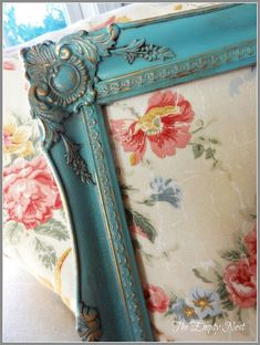 Annie Sloan Chalk Paint over gilt and then 2 step crackle process.