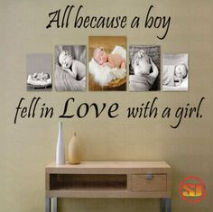 """Love Quote Decal All Because A Boy Fell In Love With A Girl - Bedroom - Livingroom - Photo Wall -Nursery 22""""H x 36""""W"""