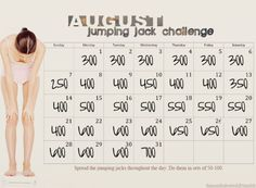 Jumping jack challenge. Doing 7000 jumping jack burns enough calories to lose a pound. Spread that our over a week and lose an extra pound. That's a lot of Jumping Jacks...