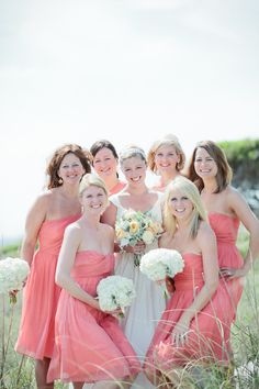 Southern wedding - coral bridesmaid dresses