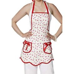 Jessie Steele Hostess Apron Bib Ava Retro Cherries
