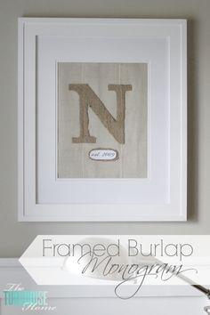 DIY Framed Burlap Monogram | TheTurquoiseHome.com
