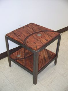 End Table I am teaching a class on using reclaimed wooden cable reel wood