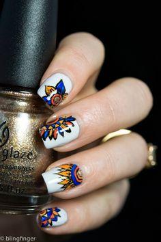 Indian Flowers - Nail Art http://www.blingfinger.net/2014/03/indian-flowers-nail-art.html