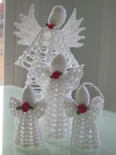 A Host of Crocheted Angels to decorate by Antiquebeginnings, $25.00