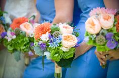 cornflower blue? orang, color, wedding bouquets, blue green, poppi, hydrangea, summer weddings, bridesmaid bouquets, flower