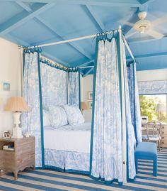 four poster beds, blue interiorsdecor