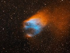 """Screaming head with flaming hair. Or maybe just a planetary nebula. Nicknamed the Flaming Skull Nebula. [Credit: T.A. Rector (University of Alaska Anchorage) & H. Schweiker (WIYN and NOAO/AURA/NSF)] Mona Evans, """"Cosmic Halloween Tour"""" http://www.bellaonline.com/articles/art52161.asp"""