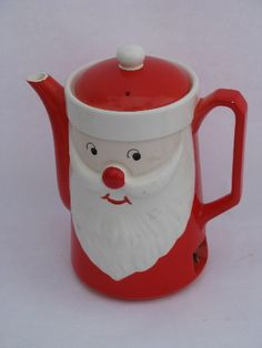 Photo of hand-painted Japan vintage Christmas Santa electric teapot, water for coffee pot #1