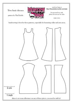 Monster High Two Basic Dress Patterns by ~TheUkelele on deviantART