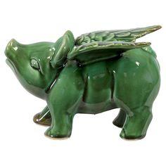decor, accent pieces, pig statu, flying pigs, turquoise, pig fli, fli pig, ceramics, statuetteconstruct materi