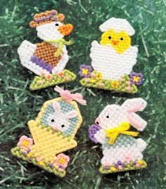 Free Easter Plastic Canvas Patterns | easter animals easter magnets duck chick bunny rabbits size 2