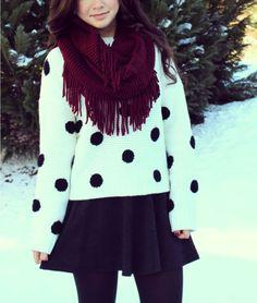 Polka Dot Sweaters, Skater Skirts, & Cozy Scarves