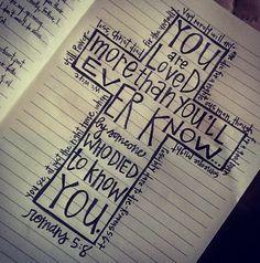roman art, chalkboard designs, romans 5:8, art journals, christ, roman 567, jesus loves, scripture verses kjv, cross