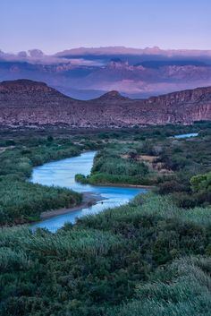 Boquillas Canyon Trail Overlooking the Rio Grande and Chisos Mountain Range, Big Bend Texas