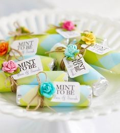 """Mint to Be"" wedding favors."