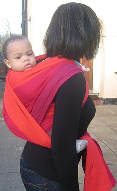 Thanks to this mama and baby for modelling a lovely Girasol wrap:) I just love the clashing colours.
