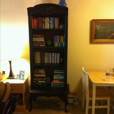 Bookcase made from a coffee table and a shelf